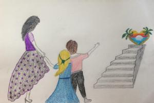 Two children leading their Mother up a staircase to a heart shaped oasis