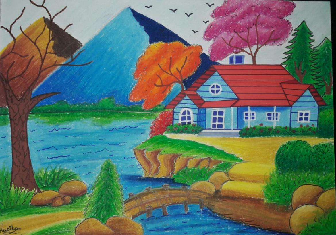 A painting of a house by a lake, with trees, birds and pyramids in the background.