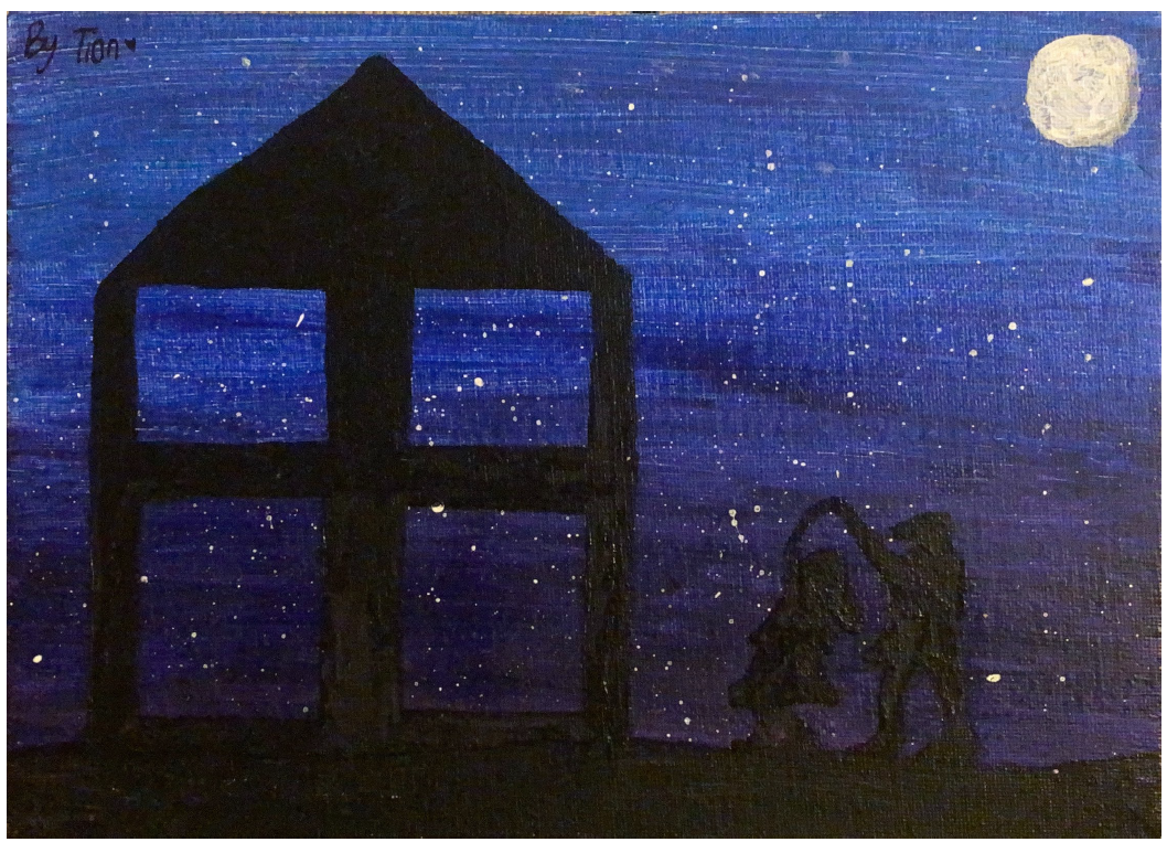 An outline of a house and a father dancing with his daughter against a moonlight sky.