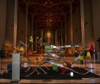 The I:DNA sculpture in place in Coventry Cathedral