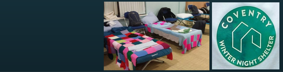 A photo inside Coventry Winter Night Shelter and their logo