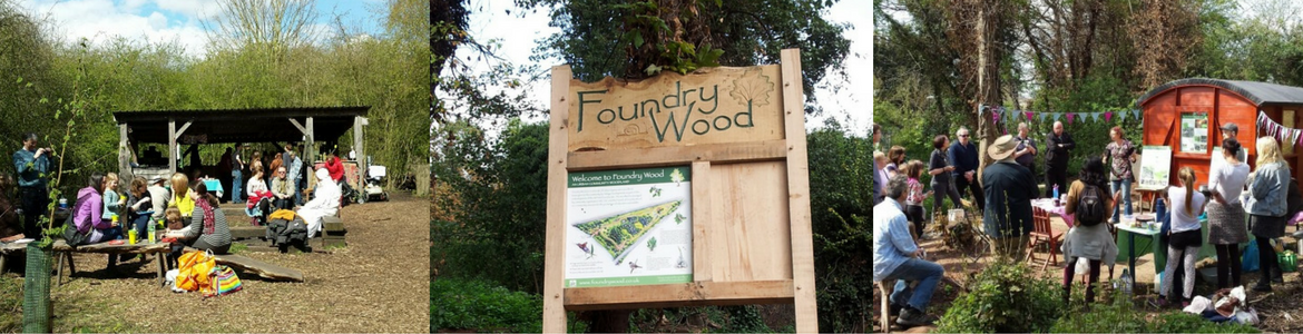 Photos of people gathered at Foundry Wood