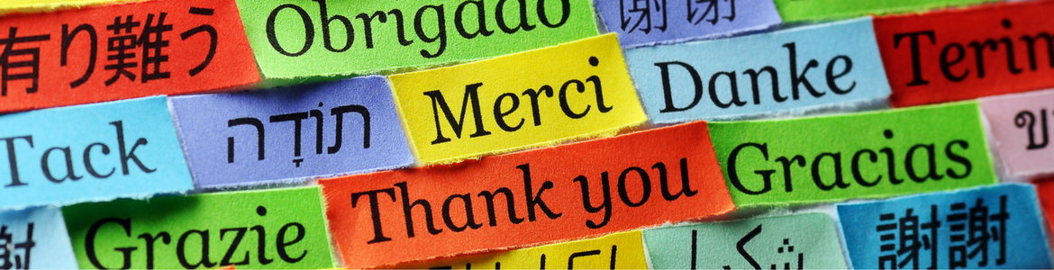 'Thank you' written in a variety of languages