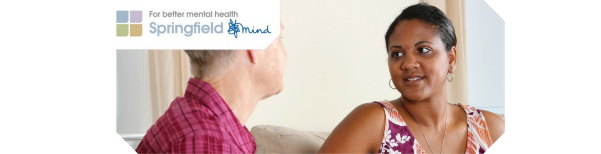 Photo of two people talking and Springfield Mind logo