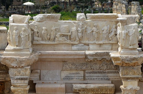 Image: relief from the Theatre at Hierapolis (modern Turkey) showing Septimius Severus presiding over the city