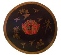 Lacquered leather shield with the coat of arms of Constantijn Ranst, c. 1668 – 1700, Copyright Ashmolean Museum, Oxford