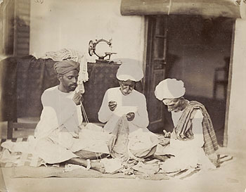 Indian Tailors Darzis At Work In Late 19 Th Century India Although The Appear To Be Working By Traditional Methods Machine On Table