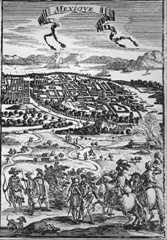 Mexico City in a French engraving from the 17th Century