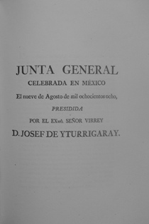 Frontpage of the Acta published after the General Junta celebrated in Mexico City on 9 August 1808