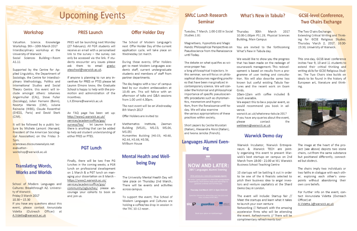 SMLC Newsletter - News and events - Modern Languages - University of ...