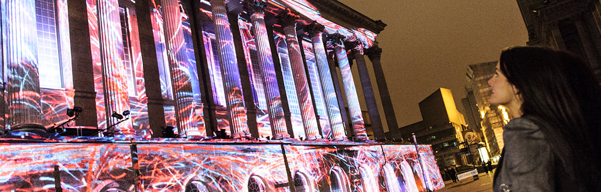 Light projection on Birmingham Town Hall