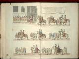 5. Press mark 604 k 1 (1).   Coloured illustration of the Lord Chamberlain's procession at James II's opening of Parliament in 1685 – page 3 of 7.