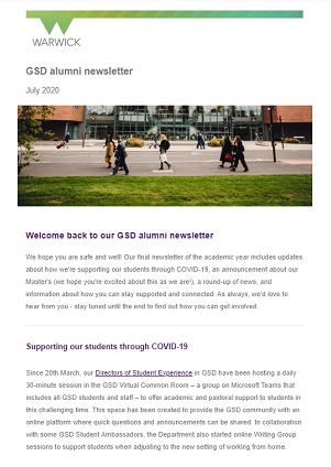 Image of first page of alumni newsletter