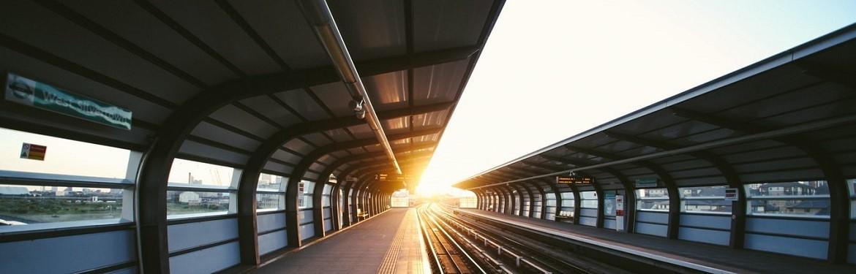 Train platform during a sunset