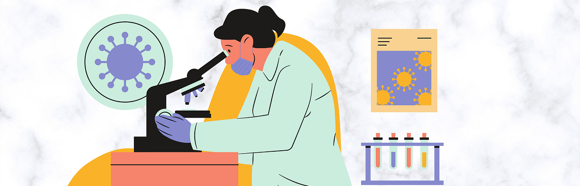 *Illustration of woman researching in a lab, looking into a microscope*