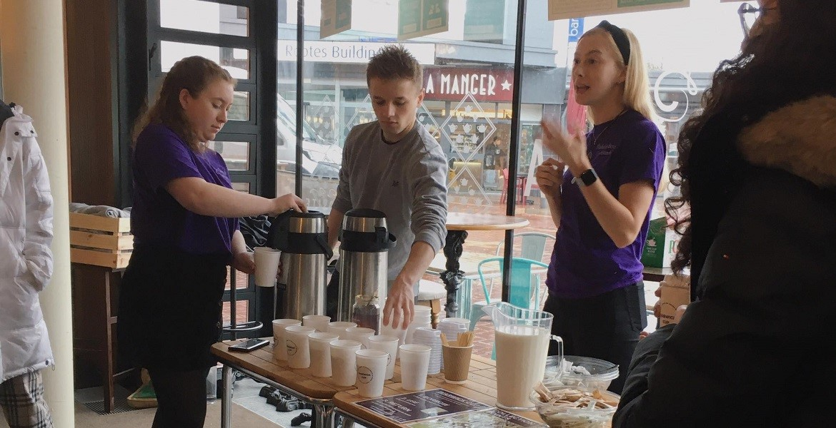 GSD students Ellie Church and Maddie Booth serving drinks at the launch of Warwick Cup in Curiositea