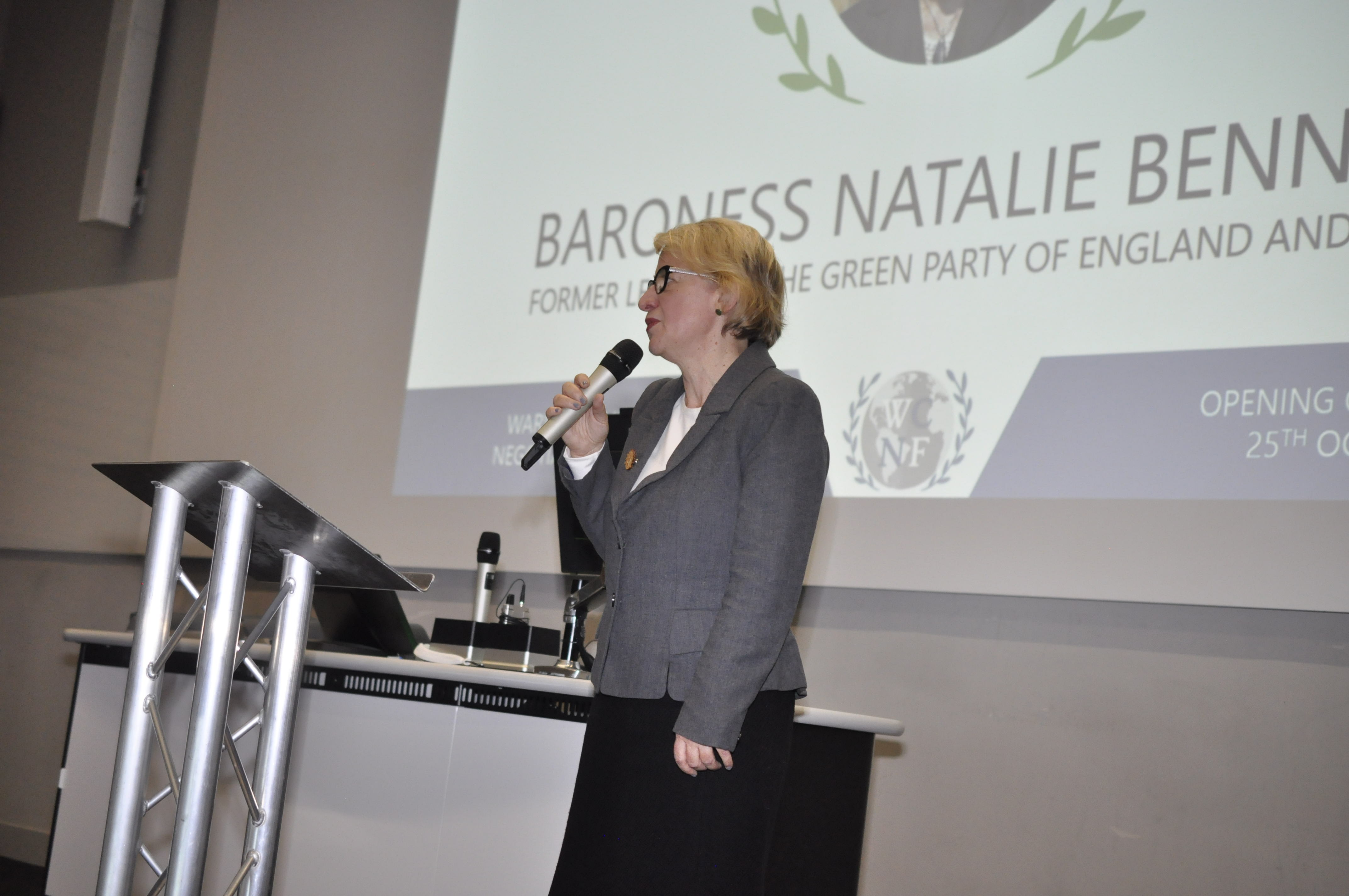 Natalie Bennett delivering a speech at the front of the lecture theatre