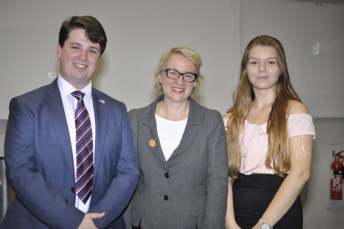 A group photo of Todd Olive (President of WCNF) and Kasia Jaworska (Vice President of WCNF) with Natalie Bennett