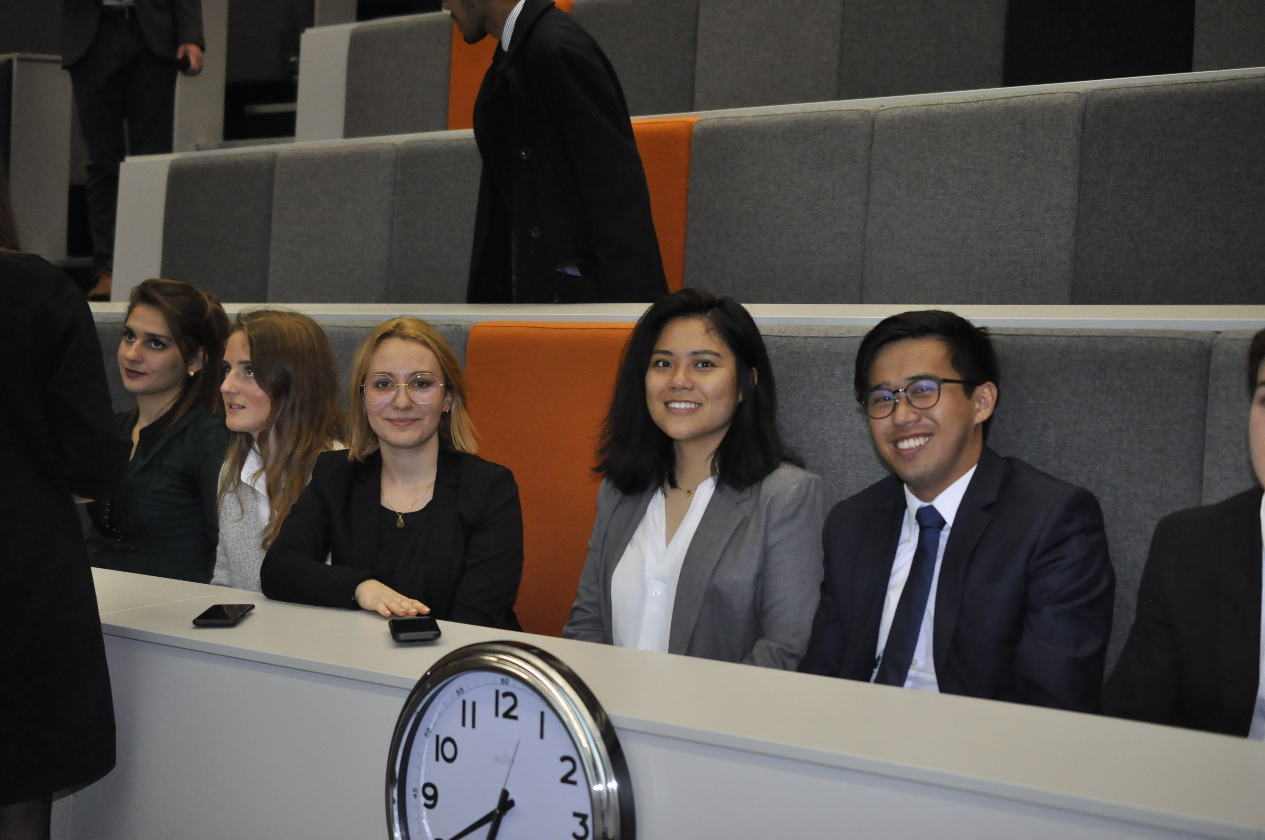 Delegates taking part in negotiations in the lecture theatre