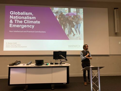 Dr Alastair Smith from the GSD Department presenting on 'Globalism, Nationalism and the Climate Emergency