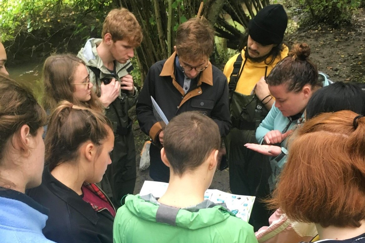 Dr Jess Savage teaching GD109 students in Tocil Woods