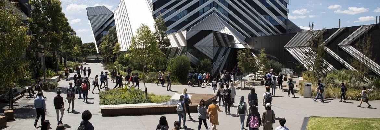Students walking around Monash University