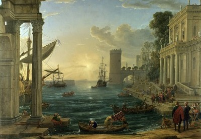 The Embarkation of the Queen of Sheba, an oil painting by Claude Lorrain (born Claude Gellée, traditionally known as Claude), signed and dated 1648. The composition draws the eye to a group of people on the steps to the right, at the intersection of a line of perspective.