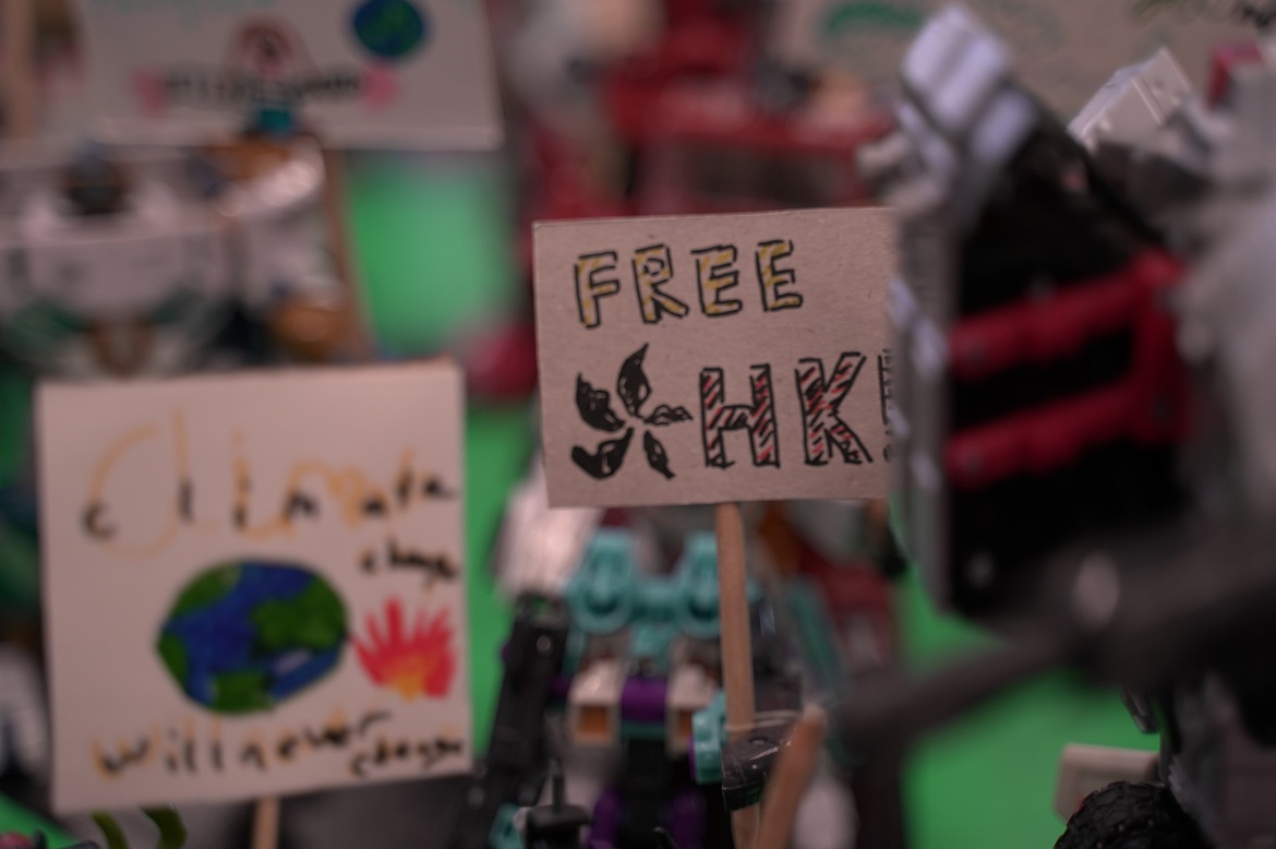 Protest signs made by visitors of the CHANGE Festival