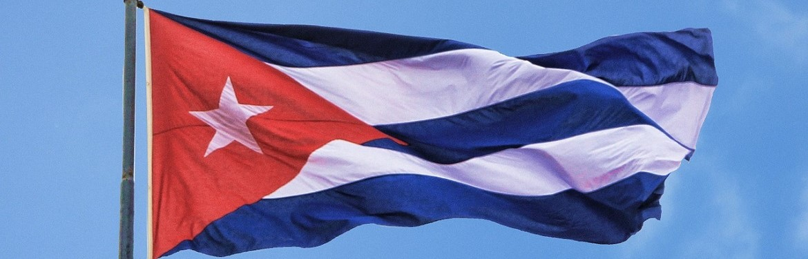Cuban flag flying in the wind