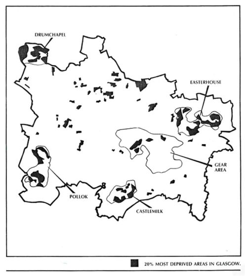 Map 2: social deprivation in glasgow 1981
