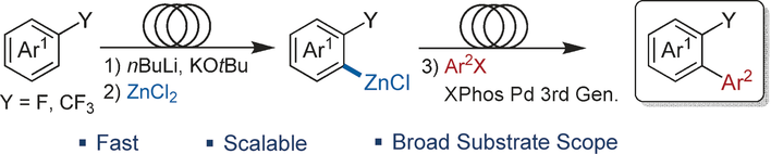 Continuous-Flow Synthesis of Biaryls by Negishi Cross-Coupling of Fluoro- and Trifluoromethyl-Substituted (Hetero)arenes