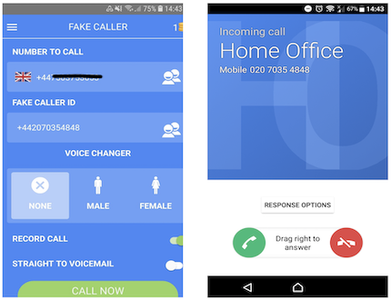 Demo of caller ID spoofing