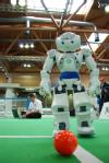 A Robocup player poses for the camera, and aims his kick for the cameraman.