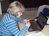 Nicole working on newsletter