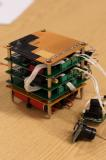 Finished PCB stack: Including power PCB and batteries, 2 Arduino PCB boards and cameras