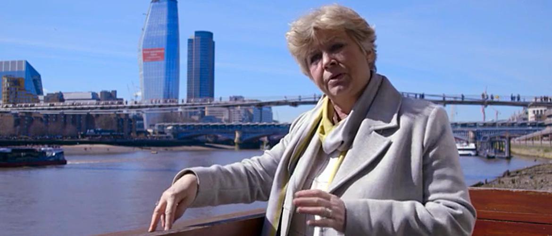 Professor Wanda Lewis near the Millennium Bridge London