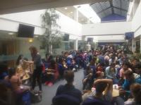 Competitors at lunch in SLS Atrium