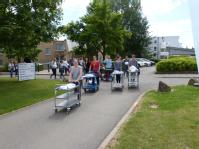 Moving trolleys and volunteers across campus