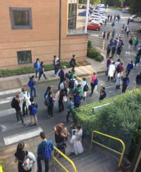 Students leaving final practical exam