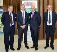 From Left: Prof Jamie Davies SBRC, Edinburgh - Prof John McCarthy WISB, Warwick - Rt Hon Dr Vince Cable, Secretary of State for Business, Innovation and Skills - Prof Nigel Scrutton SYNBIOCHEM Manchester