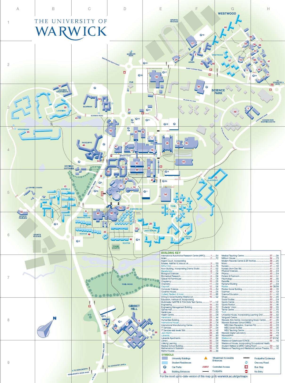 Map of Campus – Map Uk Warwick