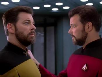 William Riker confronts his transporter duplicate in ST:TNG episode Second Chances