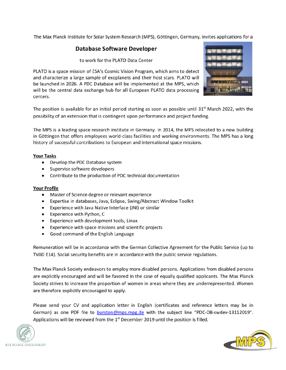 Detailed job advert of PDC Database Software Developer, higher-level position