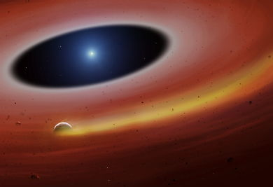 Artist's impression of a planet being disintegrated around a white dwarf