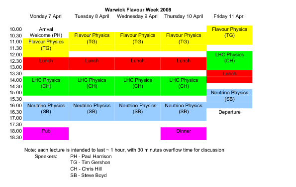 Warwick Flavour Week Timetable 2008