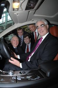 Chancellor Alistair Darling tries out the new Jaguar XF