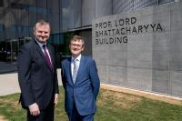 Andrew Stephenson, Under Secretary of State with Prof. Dave Mullins, interim Head of Depeartment, WMG, University of Warwick