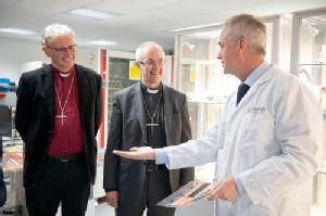 Bishop of Coventry (Rt Rev Christopher Cocksworth), Archbishop Justin Welby with Mark Amor-Segan in WMG