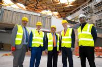 Cllr Khan, Cllr Duggins, Professor Lord Bhattacharyya, NAIC project manager, representative from Balfour Beatty