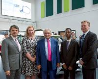 Dr Ralf Speth (CEO Jaguar Land Rover), Kate Tague (Executive Principal), Professor Lord Bhattacharyya (WMG), Yr10 Pupil Kyran Carrington, Associate Principal Stewart Tait